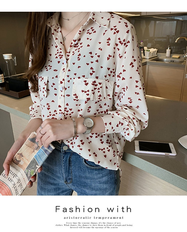 COCOMOMO Heart Pattern Casual Long-Sleeved Elegant Shirt Women's Tops Loose, Floral, 1Pc