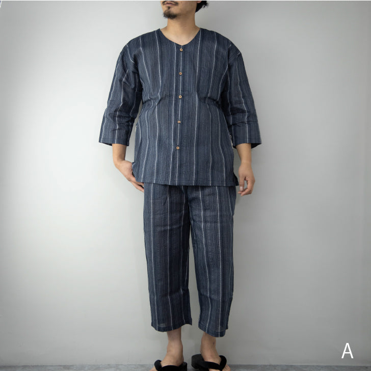 Pajamas Men's Top and Bottom Set, Shijira Weave, Roomwear, Relaxing Wear, Gift for Father's Day 2020, 1-Pack