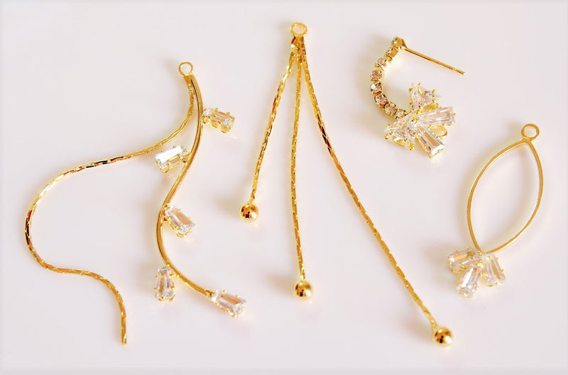 [Trend Parts] Design Chain Diamond Chain Ribbon Earrings - Basic Fittings - 4 per case