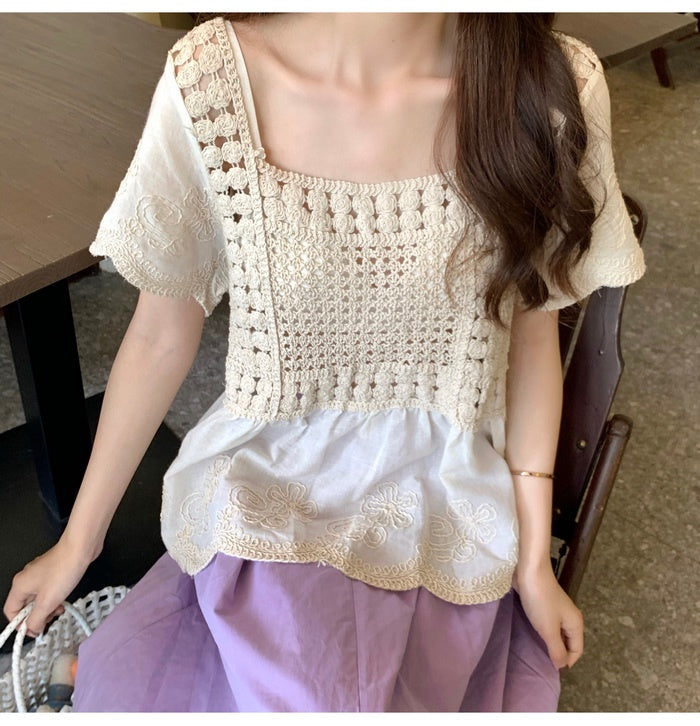 COCOMOMO Loose Shirt Floral Embroidered Tops Fashionable Slimming Short-Sleeved Blouse 1Pc