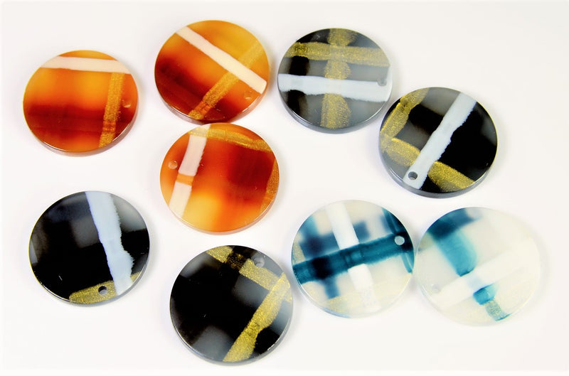 Tortoiseshell parts, geometric parts, new colors, polished on both sides and coated with luster, 10 pieces per case