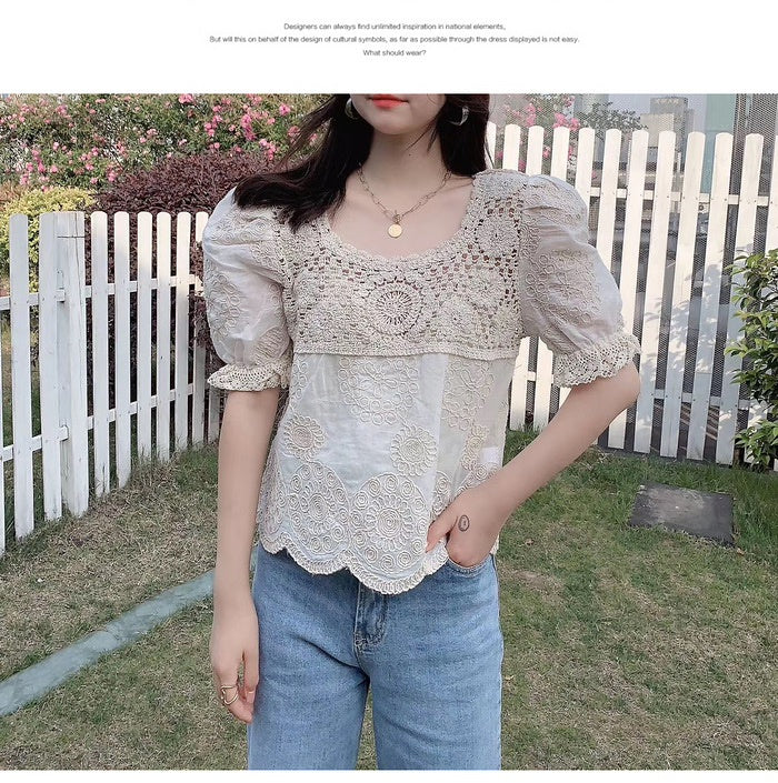 COCOMOMO Floral Lace Embroidered Shirt Stylish Elegant Short Sleeve Tops Casual Women 1Pc