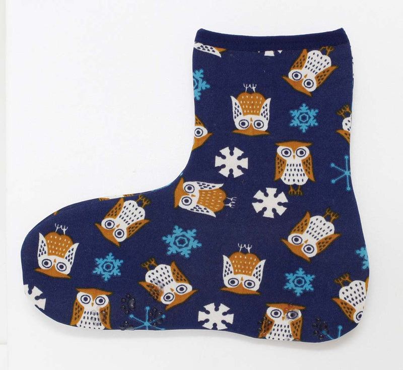 Poka Poka Socks Ankle Owl & Snow Navy 1 Case 3 Pieces