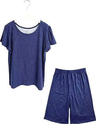 Mochiretch round neck up set (5 minutes long) Navy