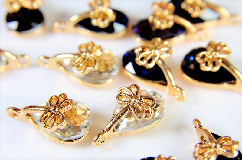 Antique Parts / Flower Charms / Geometric Shaped Parts / Class-A Glass Stone / Trend Parts / 10 pieces per case