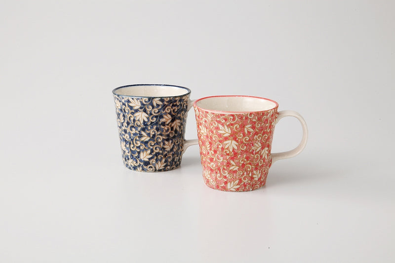 Two-color Vine arabesque pair mug 1 Case 1 pair