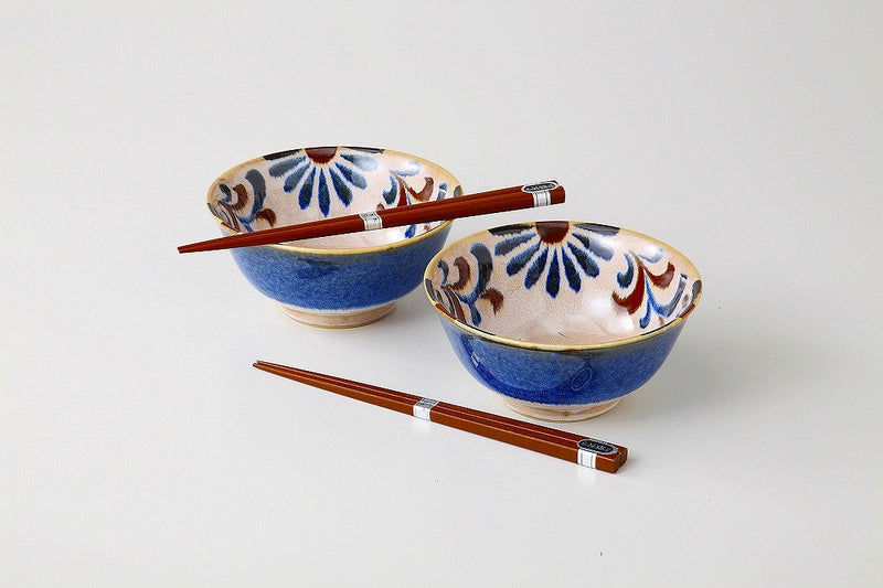 Kariyushi five sun heavy rice bowl pair 1 Case 1 set