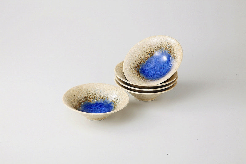 Blue Water Circle double flat Bowl Set 1 Case 1 set