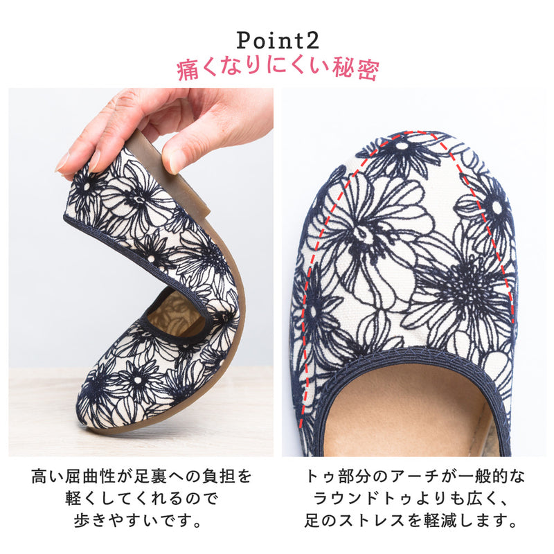 Flats Flower Pattern Pumps Made in Japan / Shoes Women's Shoes Women's Shoes 1 Pair