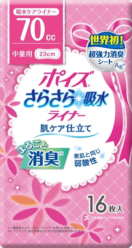 "Poise liner ""Smooth water absorption"" slim for medium weight [Nippon Paper Crecia] [Sanitary napkin] 1 case 12 pieces"
