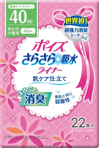 Poise liner Smooth water absorption Slim Reliable small amount [Nippon Paper Crecia] [Sanitary napkin] 1 case 12 pieces