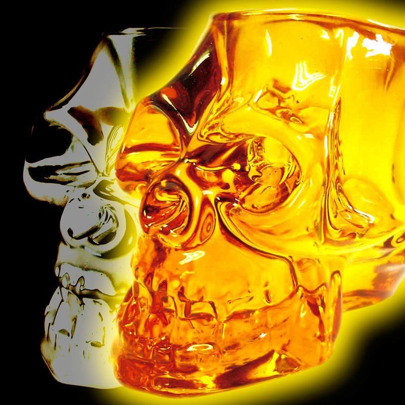 skull face candle holder clear