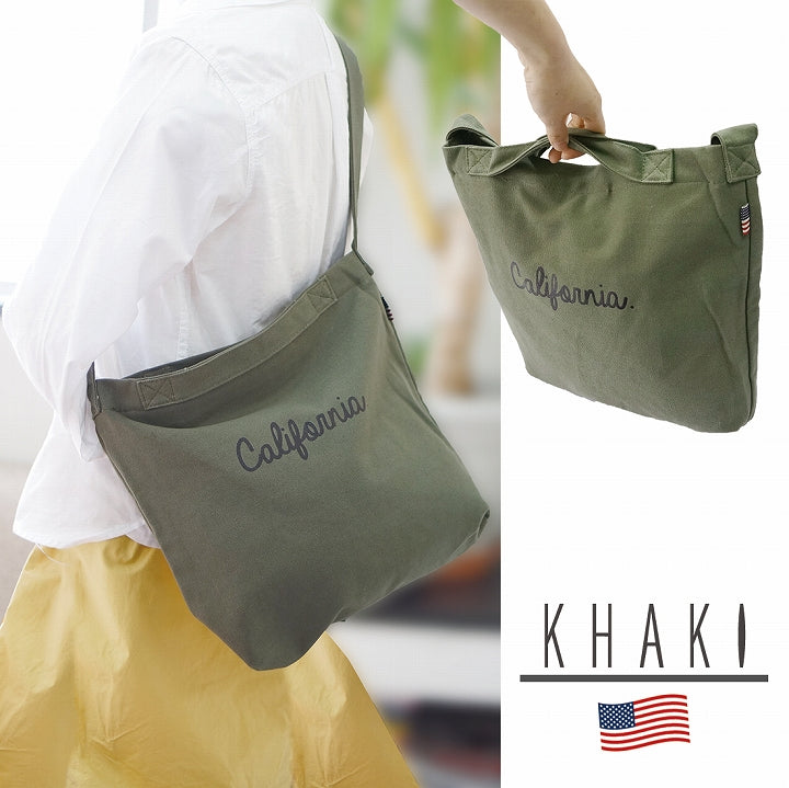 Bag Shoulder 2WAY Tote Men's Women's Canvas Canvas Logo USA Tag Keys Keys 1pc