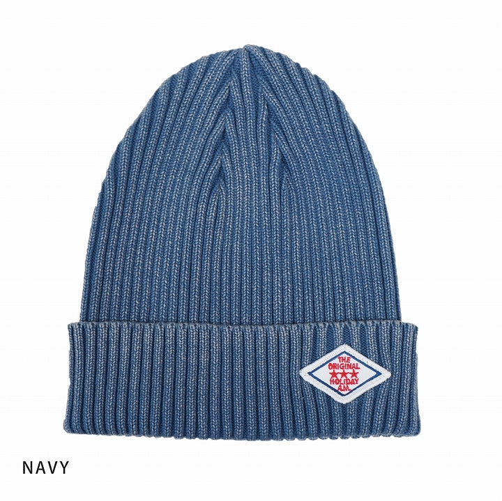 Hat Knit Cap Men's and Women's Knit Cap Watchet Cotton Wax Rib Knit Back Dye Keys 1-Pack