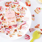 46Pcs Strawberry Cake Stickers