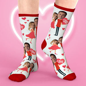 Valentine Day Custom Face Sock Sublimated Elves