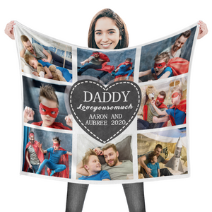 Custom Dad Blanket Personalized Photo Blankets Custom Collage Blankets - 8 Photos