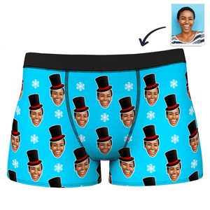 Men's Custom Christmas Snowman Face Boxer Shorts