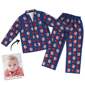 Multi-Color Custom Photo Long Sleeve Pajamas Sleepwear Nightwear Love Baby