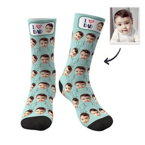 Father's Day Gifts Custom Face Socks Elephant I Love Dad Best Gifts For Dad