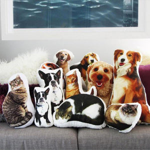 Custom Pet Photo Face Pillow 3D Portrait Pillow-cutecat