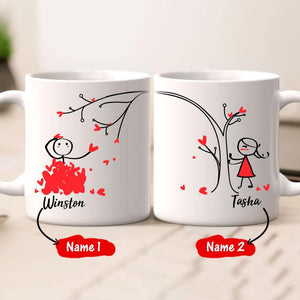 Couple Mug For I Love The Feel You Shower Me With Kisses And Hearts (Print Both Sides)