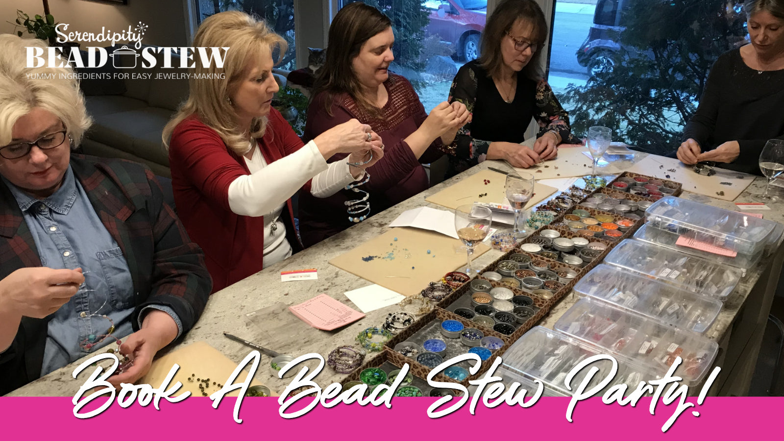 Suzie Q Studio's BEAD STEW Jewelry-Making Parties make the perfect get-together for any occasion!.. Birthday and Retirement Parties, Bachelorette Parties, Bridal Showers and more. Book your party soon at suzieqstudio.com. Being Creative Feels Good.