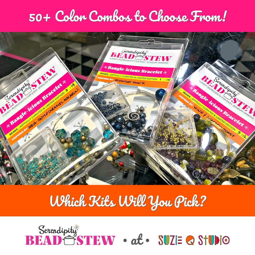 "​Suzie Q Studio's Serendipity BEAD STEW, easy jewelry-making kits, are combinations of premium quality beads and components from all over the world that are artfully and individually ""hand-picked"", in limited edition quantities​ -- right now we have 50+ colour combos available."