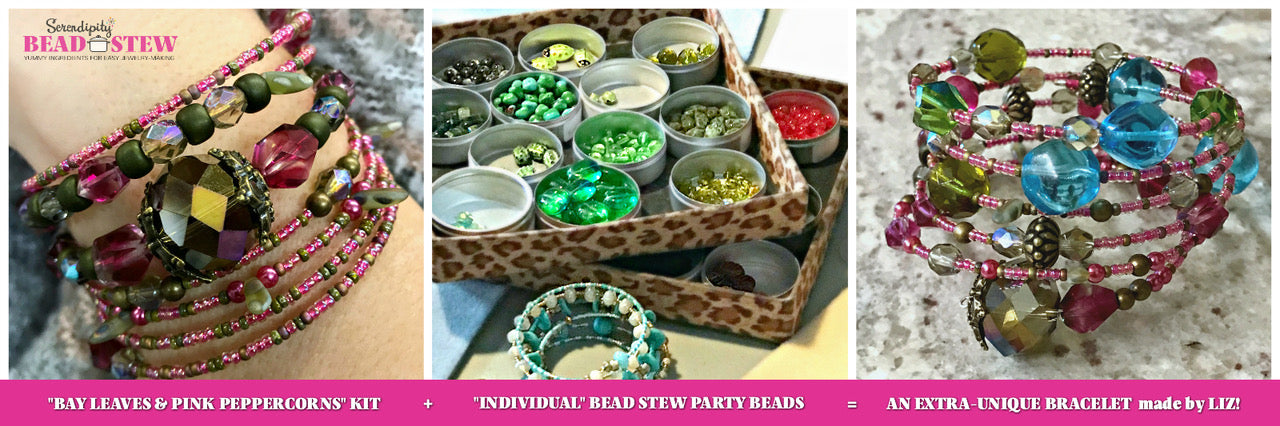 For the BEAD STEW party-goer who wants to personalize her creation beyond the kit, a selection of extra beads and Swarovski crystals are available at every party (at additional cost, depending on the style of beads chosen)