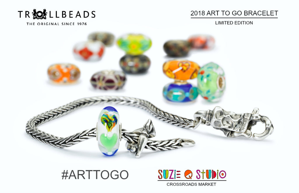 ​Suzie Q Studio at the Crossroads Market in Calgary has just received the Trollbeads ​Art to Go limited edition bracelet​! This fun new starter bracelet set includes: a Uniques bead, foxtail sterling silver chain, sterling silver paint tube lock, and a sterling silver bead with pencil, pen and paintbrush. Pop by the Q to have a look.