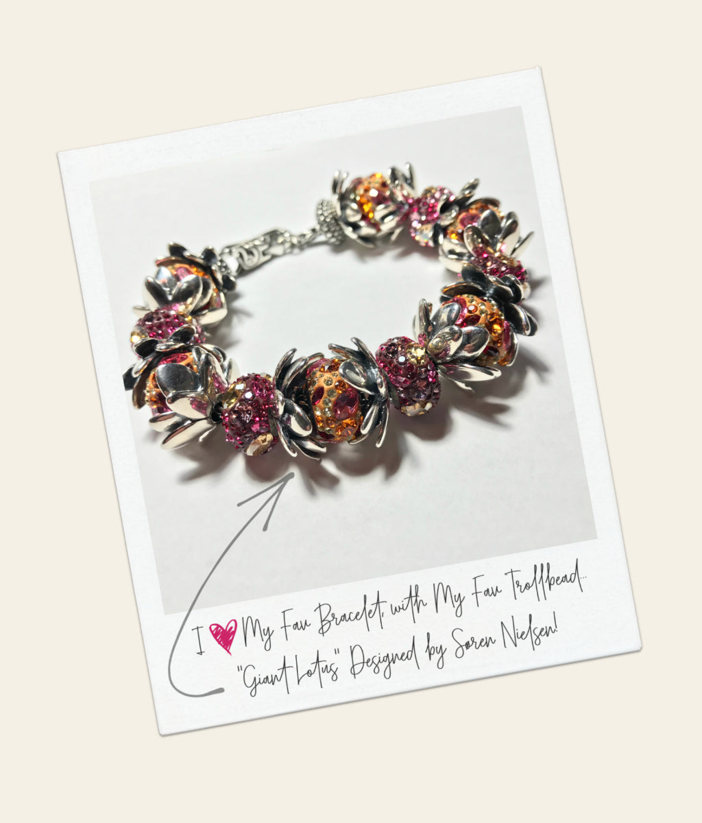 """Suzie's all-time FAV Søren Nielsen Trollbead is the awesome… Giant Lotus Pendant! I love this piece so much that it inspired my signature """"Giant Lotus"""" bracelet design, which is shown above. Isn't it a gorgeous bracelet?"""