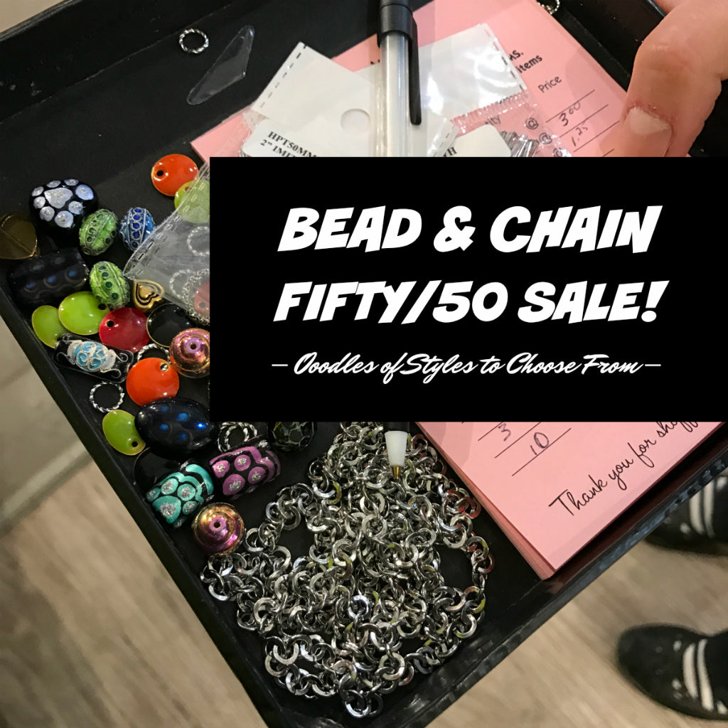 "SUZIE Q STUDIO is celebrating 16 Sweet & Successful years in Calgary, with a ""FIFTY/50 BEAD SALE, PLUS a FREE GIFT for YOU! Get the scoop about sale (and how to get your free gift!) at my Suzie Q-BLOG. Included in the sale this weekend (Aug 3-5/18) is all chain! Drop by the new ""Q"" at the Crossroads Market to stock up."