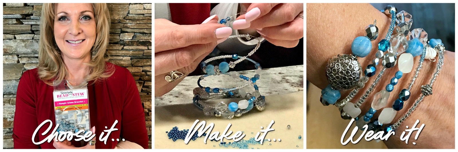 Creating a one-of-a-kind piece of jewelry at Suzie Q Studio's BEAD STEW Parties is as simple as... choose a kit, make it and wear it. No experience is necessary!