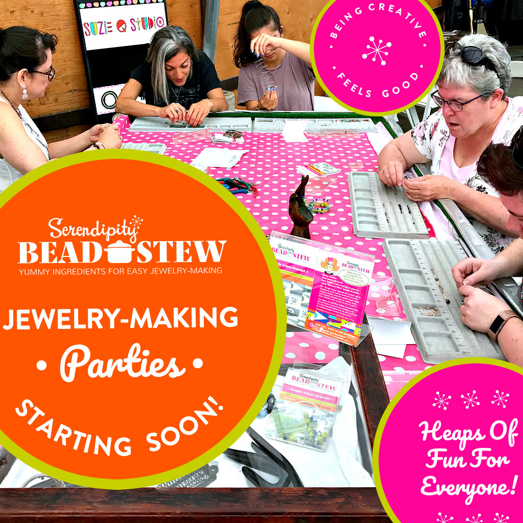 Suzie Q Studio will soon be offering Jewlery-Making Parties using our Serendipity Bead Stew DIY kits. Visit Suzie's website or subscribe to our eNewsletter to get all the latest news.
