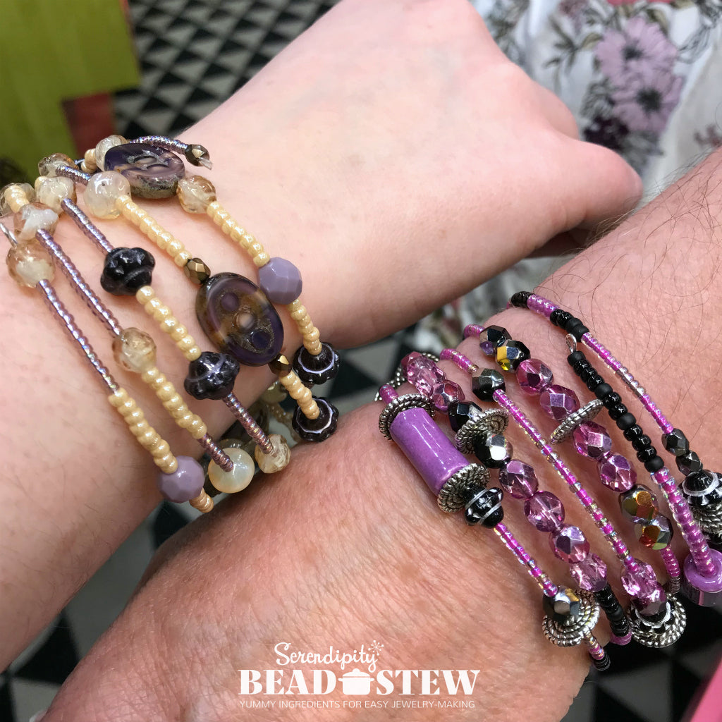 "The Calgary Spring Fibre Fest​ ​was tons of ​fun on Mother's Day​ weekend,​ ​with Suzie Q Studio​ ​providing FREE, expert instruction​ ​for some ""Moms & Daughters""​ ​to make their own​ ​Serendipity BEAD STEW​ ​""Bangle-icious"" Bracelets!"