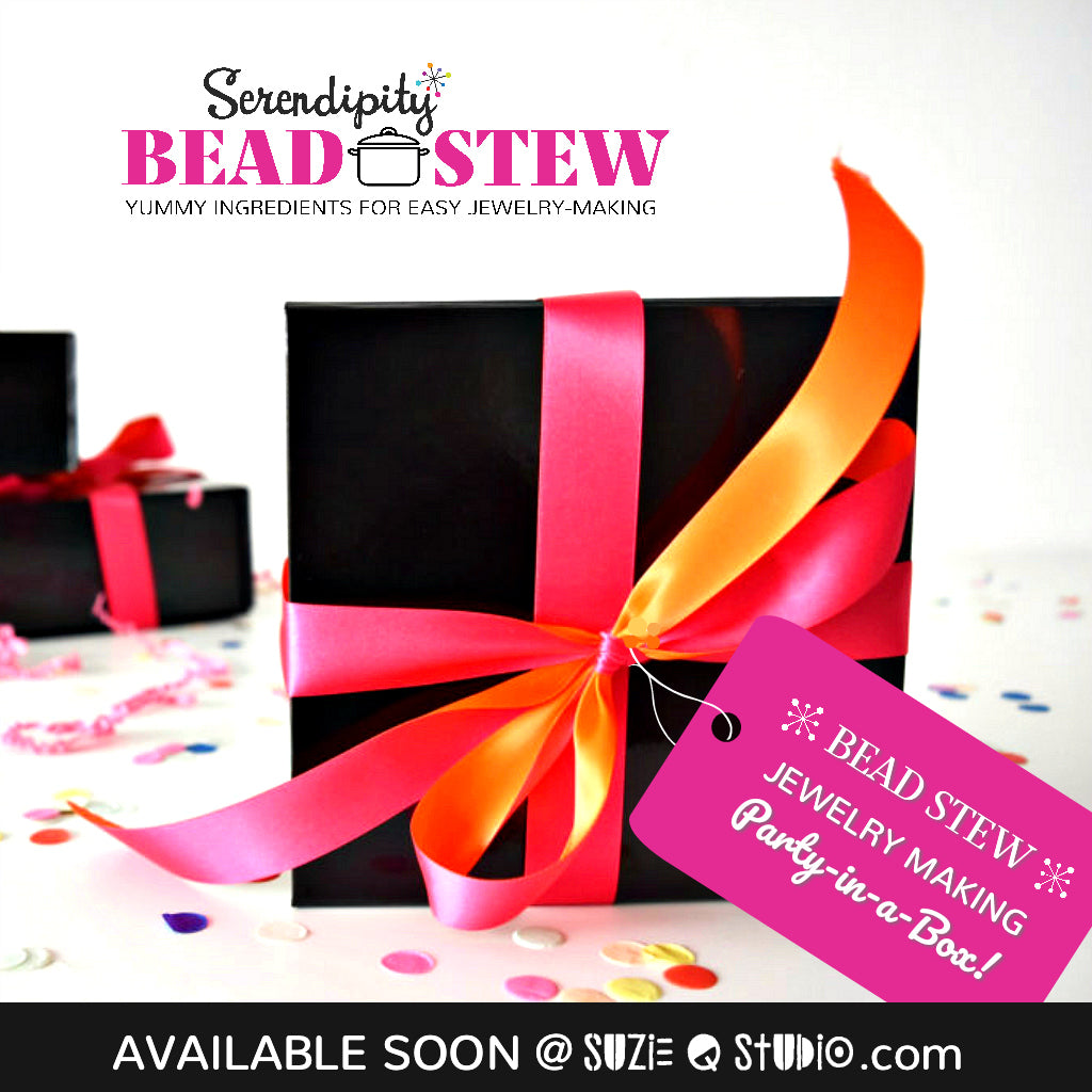 Suzie Q Studio will soon be offering *Bead Stew* Jewelry Making Party-in-a-Box kits for people who aren't able to attend her Bead Stew Jewelry Making Parties. Check back soon for lots more details.