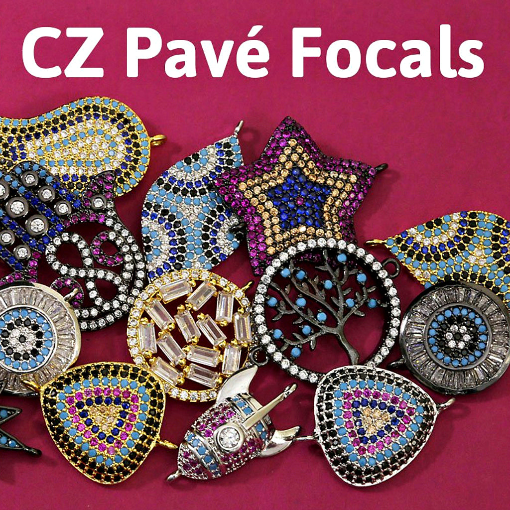 ​#7... ZOLA CZ PAVÉ FOCALS  Set with cubic zirconia stones, these pavé pieces have a brilliant sparkle! Pair them with the perfect chain to create a gorgeous necklace or bracelet.