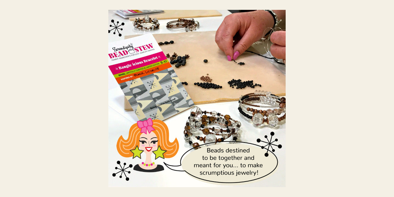 "At every Suzie Q Studio BEAD STEW Jewelry-Making Party, to ensure that everyone has lots of ""Good Creative Fun"" creating their one-of-a-kind ""Bangle-icious"" bracelets, you'll receive step x step instructions, as well as oodles of ""tips 'n' tricks"" and expert design help."