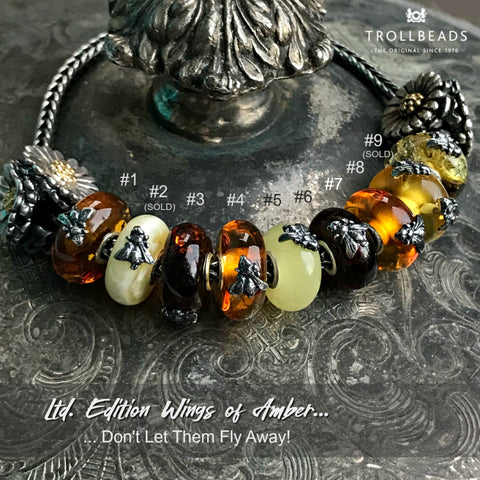 "Suzie Q Beads at the Crossroads Market in Calgary has the Trollbeads ""Wings of Amber Kit"" of 10 unique beads, BUT they're now available as SINGLE BEADS! Get them before they're gone."