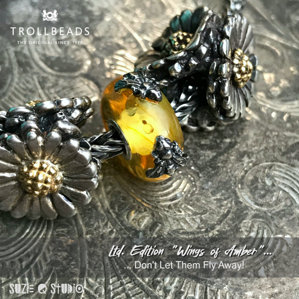 "Available at Suzie Q Studio in Calgary... ""Wings of Amber"" Bead #8 - TEA FOR TWO"