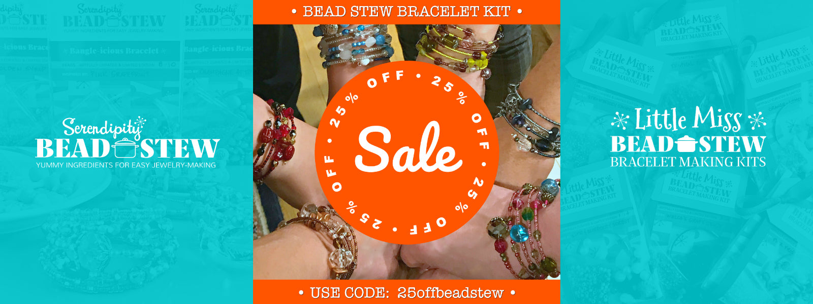 Suzie Q Studio's Serendipity BEAD STEW DIY EASY BANGLE STYLE BRACELET MAKING KITS are Limited Edition collections of artfully curated premium quality beads and components for you to make a one-of-a-kind bracelet. No experience necessary. Limited time offer, use promo code for 25% OFF.
