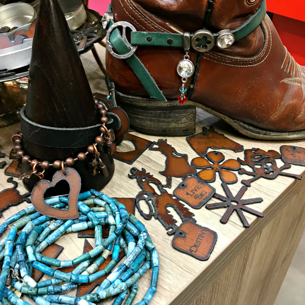 Suzie Q Studio at the Crossroads Market in Calgary has all the supplies you'll need to make boot bling for your cowboy boots -- especially our Lipstick Ranch Charms! Perfect for Stampede.