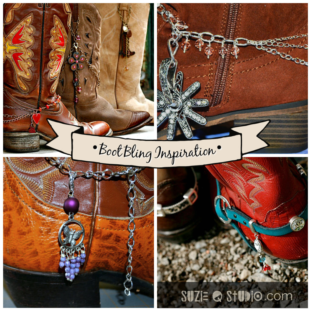 Suzie Q Studio at the Crossroads Market in Calgary has all the supplies you'll need to make boot bling for your cowboy boots. Perfect for Stampede.
