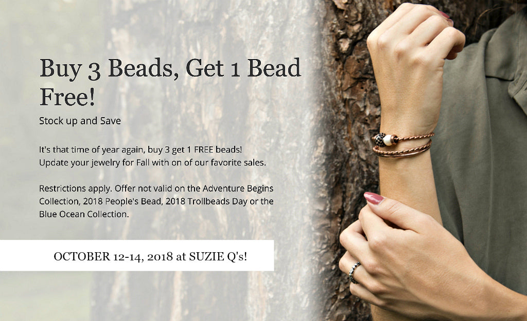 Suzie Q Studio at Crossroads Market in Calgary has a Trollbeads Buy 3 Get 1 Free Special October 12-14, 2018.