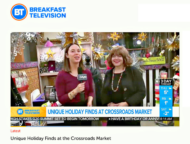 "The Crossroads Market Ltd. is Calgary's ""Hidden Gem"" of Shops, with tasty eats, as well as unique and eclectic ""gifty"" items, including Suzie Q Studio, of course! Amber from BT Breakfast Television takes you on a tour of a small sampling of what's in-store for you when you visit the Crossroads --- plenty of FREE parking too! The Market is OPEN Friday-Sunday, 9AM-5PM."