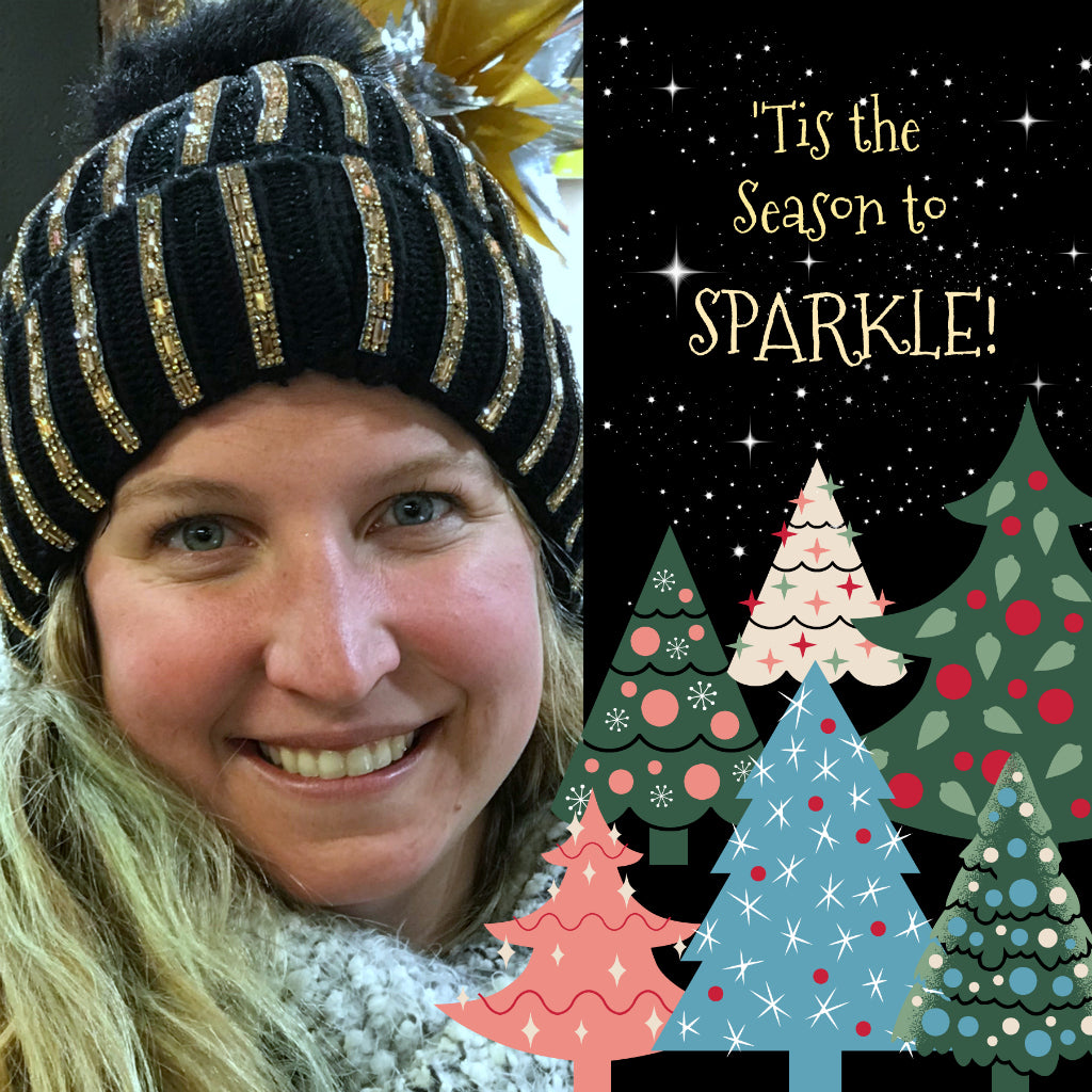 Meet the Oh-So-Lovely, Crossroads Christmas Tree Gal, Elise! Because she's outdoors selling her beautiful Christmas trees🎄, she decided to Keep Warm in Style with a Suzie Q Swarovski SPARKLE Toque... Get yours (available in various colours) before they're all all gone!  After doing your Xmas shopping at the Crossroads, you can visit Elise at the Crossroads Christmas Tree Lot to pick up your fresh and fab seasonal tree!