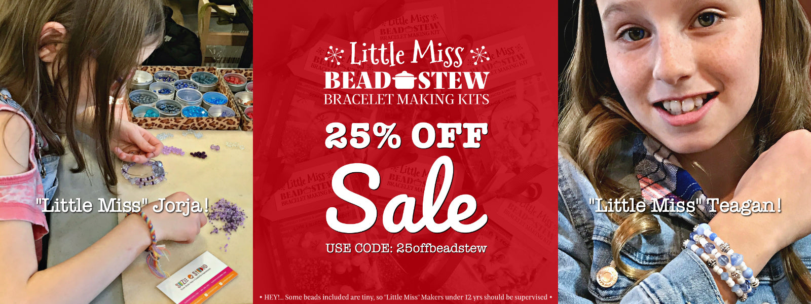 """Our BEAD STEW kid's bracelet making kits are perfect for """"Little Miss"""" jewelry makers. The bead and color combinations ensure it's easy to create the bangle-style bracelet. Use promo code for 25% OFF."""
