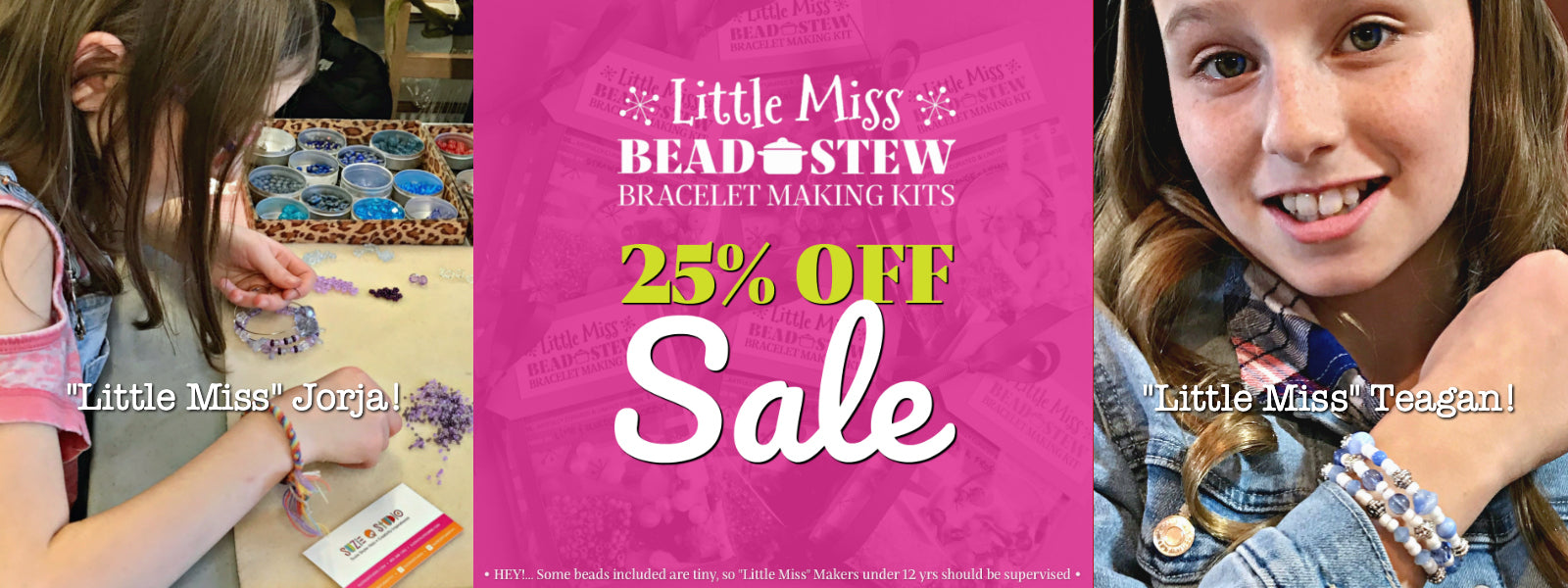 """Our BEAD STEW kid's bracelet making kits are perfect for """"Little Miss"""" jewelry makers. The bead and color combinations ensure it's easy to create the bangle-style bracelet. For a limited time, they're all on sale for 25% OFF."""
