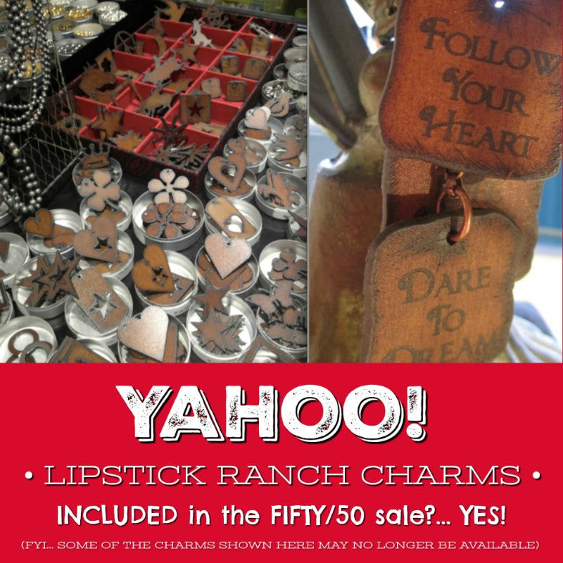 Lipstick Ranch Charms 50% OFF -- THIS WEEKEND (Sept 14-16/18)) is your last chance to stock up on your Kumihimo beads, leather & supplies, plus all our other jewelry-making supplies...findings, chain, beads, SWAROVSKI CRYSTALS, and lots more -- ALL at 50% OFF! Hope to see you this weekend at Suzie's new Crossroads Market location in Calgary!