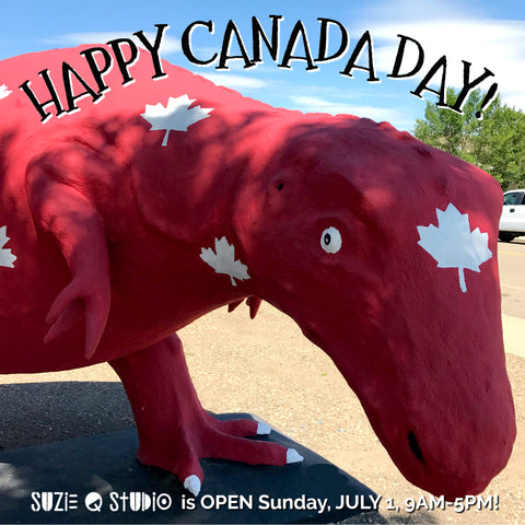 Happy Canada Day from Suzie Q Studio in Calgary. Drop by the Crossroads Market for our 50% Moving Sale on all jewelery-making supplies.